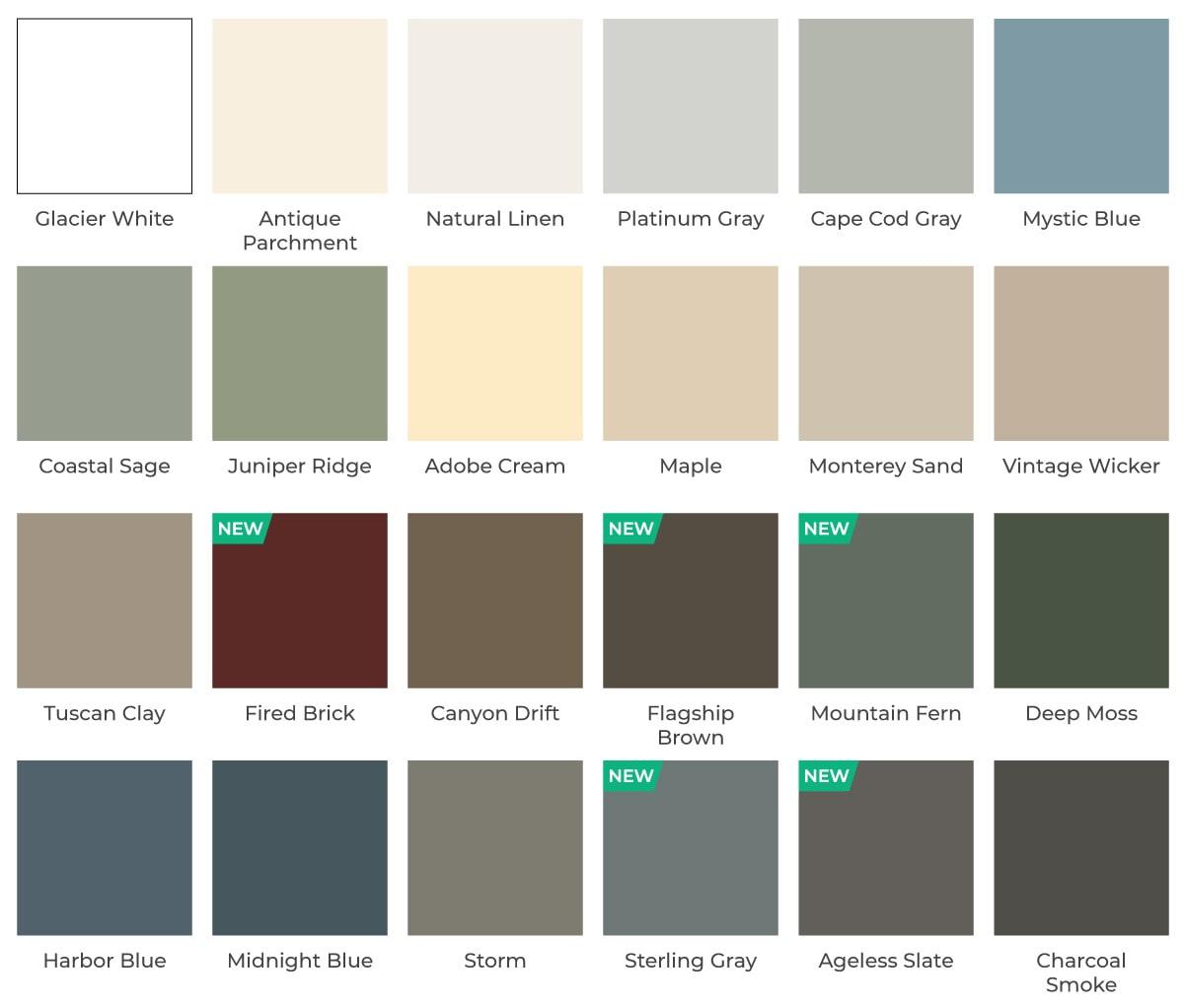 vinyl siding color options